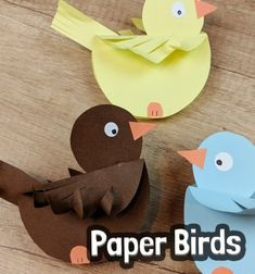 These paper birdies are super cute, fun  to play with and also really easy to make! ( and you probably already have all the supplies you need to make them! ) You can use these paper birds as cute spring home decors, or seat cards at a fun party, or simply create some with the kids ...