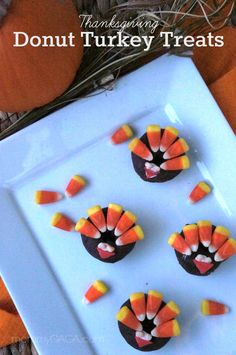 Cute #Thanksgiving Treats for kids, Donut Turkeys. These are fun!