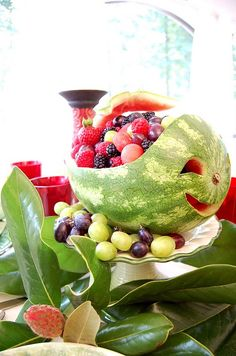 Between Naps on the Porch: Tutorial: Carved Watermelon Party Centerpiece