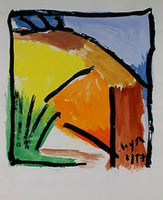 Wher the city stops. gouache and brush on print paper. Chuck Boyer