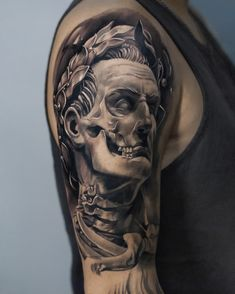 by Dragos Calmuc done at CACTUS INK Bucharest. Caesar Dead Skull Tattoo Tattoo Examples, Large Tattoos, Der Arm, Cactus, Skull, Bucharest, Ink, Portrait, Artists
