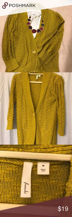 Mustard yellow cardigan Mustard yellow cardigan, like new condition. Frenchi label from Anthropologie. Size M, fits small/medium. Anthropologie Sweaters Cardigans