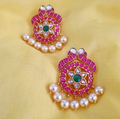 Peacock Design, Gold Plated Earrings, Silver Flowers, Pearl White, Jewelry Stores, Studs, Silver Jewelry, Plating, Chokers