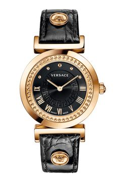 Free shipping and returns on Versace 'Vanity' Leather Strap Watch, 35mm at Nordstrom.com. The Greek key etching a colorful sunray dial and Medusa coins detailing the matching embossed-leather strap lend signature style to a richly textured rose-gold watch. A studded bezel and Roman numeral indexes further the elegant, head-turning style.
