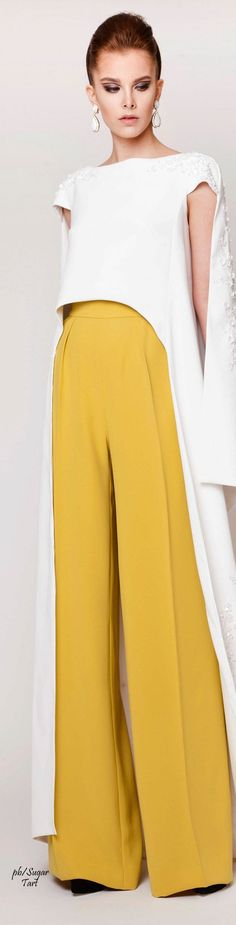 Azzi & Osta ~ Couture Spring Front Cropped Top, White w Canary Full Leg Trousers 2015
