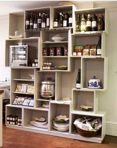 The Modern Pantry in London – Remodelista - Wooden Crates Bookshelf Deco Restaurant, Ideas Para Organizar, Pantry Design, Wooden Crates, Wine Crates, Fabric Storage, Retail Space, Retail Design, Sweet Home