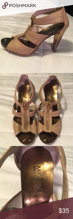 Michael Kors Berkley T-Strap Heels Gold/bronze heel with tan snakeskin straps. 4 inch heel. Little wear beneath where your toes will sit as well as normal wear on heel point. Photos of heel point will be provided if requested. Beautiful heels! 👠 MICHAEL Michael Kors Shoes Heels
