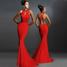 Women Evening Party Dress O-Neck Classic Lace Hollow Out Sexy Sleeveless Backless Long Maxi Chic Charm Gown Mermaid Hem Vestidos