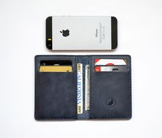 Men's Wallet  Slim Wallet Blue Leather Front Pocket Wallet 4 Card's Slots Gift For Him Minimalistic Bi Fold Wallet Personalized (if need)