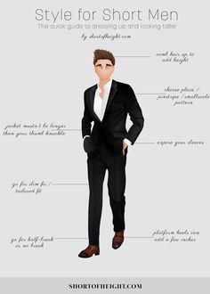 Style Tips for Short Men Infographic    #Men, #Fashion, #Infographics