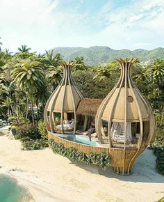 Check out our 20 stunning hotels in striking locations Bamboo Architecture, Amazing Architecture, Architecture Design, Architecture Diagrams, Casa Bunker, Cottages With Pools, Bamboo House Design, Jardin Decor, Cottage Design