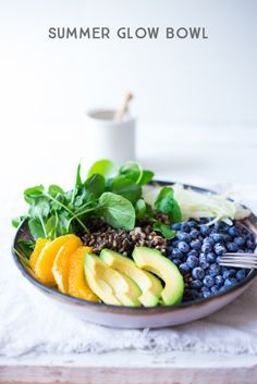 "A healthy, vegan ""Glow Bowl"", designed to give your skin a burst of anti-oxidants and skin glowing nutrients. www.feastingathome.com"