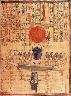 """Khepri scarab standing in Solar barge - meaning """"develop"""" or """"come into being"""""""