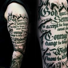 Ripped Skin Serenity Prayer Guys Arm Tatotos