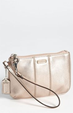 COACH 'Small' Leather Wristlet in Rose Gold   Nordstrom