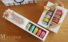 white macaron packaging box with pvc window Macaron Packaging, Gift Box Packaging, Paper Packaging, Chocolate Gifts, Chocolate Box, Macaroon Cake, Macaron Boxes, Gift Ribbon, Packing Boxes