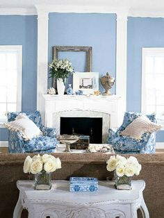 Benjamin Moore bluebelle walls with superwhite trim.