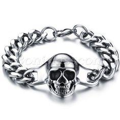 Punk Stainless Steel Skull  Men Polished Bracelet Chain Wristband Halloween Gift #Unbranded #Chain