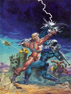 "Masters of the Universe artwork by (the master) Earl Norem. He-Man, Skeletor, Man-At-Arms, Beast-Man and Teela… Cover art for ""The Sunbird Legacy"" Comic Book Covers, Comic Books Art, Comic Art, Master Of The Universe, Universe Art, Thundercats, Gi Joe, He Man Tattoo, Conan Der Barbar"