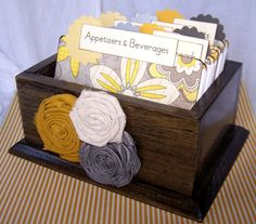 Recipe Box, Dividers and Cards - Yellow and Gray Recipe Dividers, Dark Charcaol Gray Box Recipe Card Boxes, Recipe Cards, Fun Crafts, Diy And Crafts, Crafty Projects, Wood Projects, Diy Scrapbook, Scrapbooking, Custom Boxes