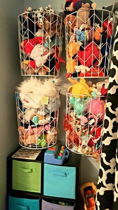 Toy storage, stuffed animal storage. Target baskets on removable hooks.