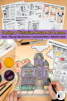 Need an engaging Victorian House art project middle school students will love? Try this Fall inspired architecture art lesson using colored pencils Drawing Games, Drawing Practice, Drawing For Kids, Middle School Art, Art School, Projects For Kids, Art Projects, Project Ideas, Art Games For Kids