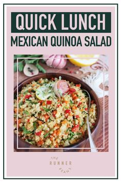 Wonderfully light, healthy, nutritious and easy-to-make Mexican Quinoa Salad is your ideal lunch companion. This bowl of salad is filled with oh-so many amazing flavors, from the tangyness to the hint of spiciness from the salsa. And not only is this healthy and nutritious but it's also super easy to make! Click through to access the recipe now! Healthy Food Habits, Healthy Living Recipes, Healthy Diet Recipes, Healthy Breakfast Recipes, Autumn Recipes Lunch, Mexican Quinoa Salad, Dessert Bars, Almond, Health Foods