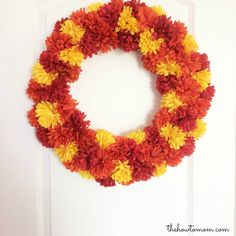 Easy Fall Mum Wreath DIY - $16 and 30 minutes! NO HOT GLUE!! The color combination options are endless! via The How To Mom