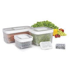The OXO Good Grips GreenSaver Produce Keeper will keep your produce from rotting and spoiling. This innovative produce keeper features non-toxic, activated carbon filters that trap and absorb ethylene gas, which keeps fruits and vegetables fresh longer. Kitchen Items, Kitchen Tools, Kitchen Gadgets, Kitchen Dining, Kitchen Things, Kitchen Stuff, Kitchen Storage, Kitchen Decor, Kitchen Appliances