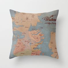Westeros- Game of Thrones Map Throw Pillow