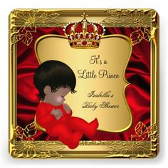 Prince Boy Baby Shower African American Red Gold Invites Royal Baby Shower Theme, Royal Baby Showers, White Baby Showers, Boy Baby Shower Themes, Baby Shower Princess, Baby Shower Gender Reveal, Baby Boy Shower, Cheap Baby Shower, Simple Baby Shower