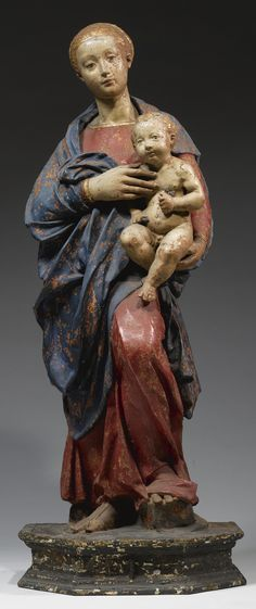 An Italian painted terracotta group of the Madonna and Child, by the 'Master of the Unruly Children', first quarter 16th century || Sotheby's