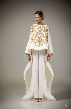 Buy 2016 Ashi Studio Gold Embroidery Long Sleeve Evening Dress A Line Pants Kaftan Satin Arabic Formal Dubai Abaya Pants Free From & Price; From Alberta_dress Style Haute Couture, Couture Fashion, Hijab Fashion, Dress Fashion, Ashi Studio, Hijab Style, Evening Dresses, Formal Dresses, Dresses 2016