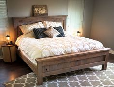 Farmhouse King Bed - knotty alder and grey stain Do It Yourself Home Projects from Ana White Farmhouse Master Bedroom, Home Bedroom, Bedroom Furniture, Bedroom Decor, Bedroom Ideas, Diy Furniture, Design Bedroom, Master Bedrooms, Bedroom Rustic