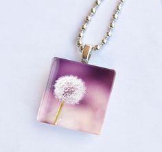 Dandelion necklace glass tile pendant dandelion by mylittlepixels