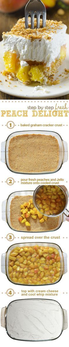 Fresh Peach Delight is a refreshing layered dessert - graham cracker crust is followed by a layer of fresh peach and jello filling, finished with a layer of cream cheese and cool whip mixture sprinkle with graham cracker crumbs on top. #peach #dessert