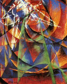 Giacomo Balla | Mercurio Passa Davanti il Sole | 1914 | Cubo-Futurism. Futurismo, movimento artistico nato in Italia che affronta temi come il culto della progressione, della macchina e della velocità. Rinnovamento totale del mondo.