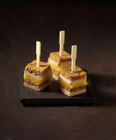 Minicroque van foie gras mango peperkoek