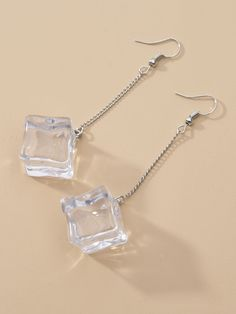 Summer Sale | Ice Cube Shaped Drop Earrings | ROMWE USA Weird Jewelry, Funky Jewelry, Cute Jewelry, Jewelry Accessories, Jewelry Design, Handmade Accessories, Jewelry Bracelets, Funky Earrings, Diy Earrings