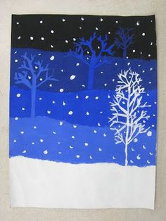 My 4th graders have been learning about value. We made these snowy landscapes by mixing different tints and shades of the same color. We als...