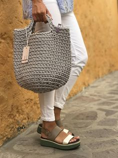 Crochet Tote Bag Knitted Handbag OLIVE color Modern