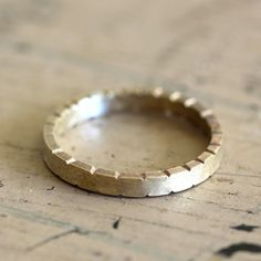 Notched brass ring by Praxis Jewelry