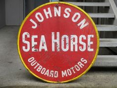 1929 SEA HORSE outboard motor antique Johnson enamel sign vtg fishing race boat