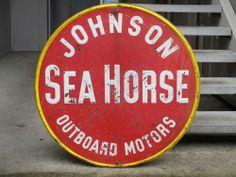 1929 SEA HORSE outboard motor antique Johnson enamel sign vtg fishing race boat