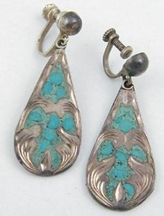 Mexican Sterling Inlaid Turquoise Earrings - Garden Party Collection Vintage Jewelry