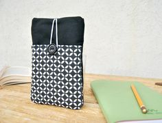 #Fabric #cover #phone, Fabric phone #case wallet, Phone #sleeve with elastic and pocket, personalized phone case Optical fabric black and withe by KatiaFabricStudio on Etsy