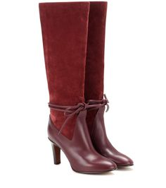 mytheresa.com - Kniehohe Stiefel aus Veloursleder und Leder - Luxury Fashion for Women / Designer clothing, shoes, bags