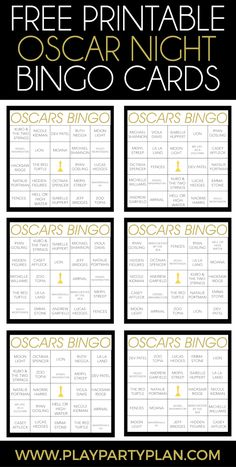 Looking for fun Oscar Night party ideas? Love these Oscar Night bingo cards, perfect for playing with friends and family while you watch the red carpet and ooh and awe over Oscar Night outfits. And I love all the Oscar party food and decoration ideas too! Party Food Themes, Party Games, Party Ideas, Prom Themes, Theme Ideas, Party Printables, Free Printables, Les Oscars, Hollywood Party