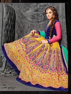 164854 Yellow  color family Mehendi & Sangeet Lehenga in Net fabric with Border, Machine Embroidery, Patch, Resham, Stone, Zari work .