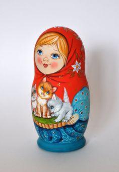 Русская деревянная расписная Матрешка Русский сувенир 5 в 1